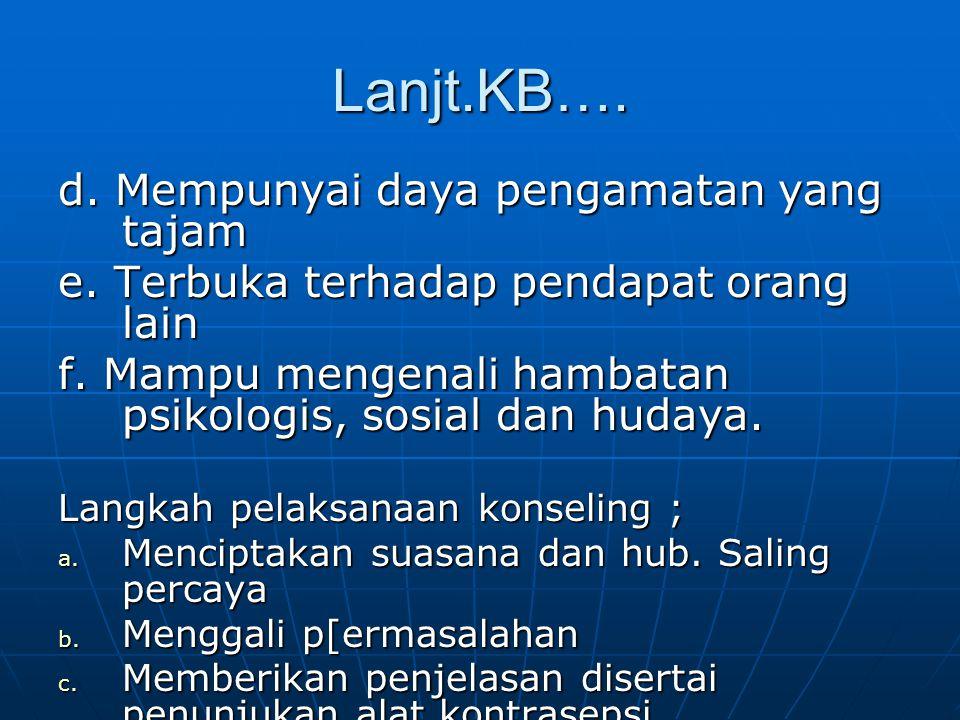 Lanjt.KB…. d. Mempunyai daya pengamatan yang tajam