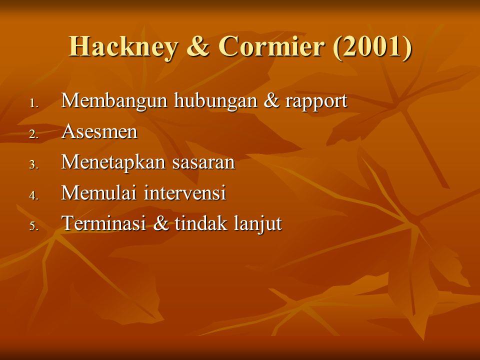 Hackney & Cormier (2001) Membangun hubungan & rapport Asesmen