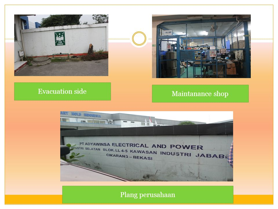 Evacuation side Maintanance shop Plang perusahaan