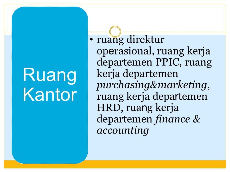 ruang direktur operasional, ruang kerja departemen PPIC, ruang kerja departemen purchasing&marketing, ruang kerja departemen HRD, ruang kerja departemen finance & accounting