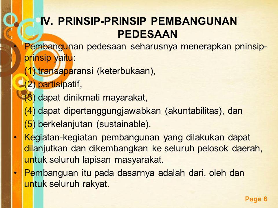 PRINSIP-PRINSIP PEMBANGUNAN PEDESAAN