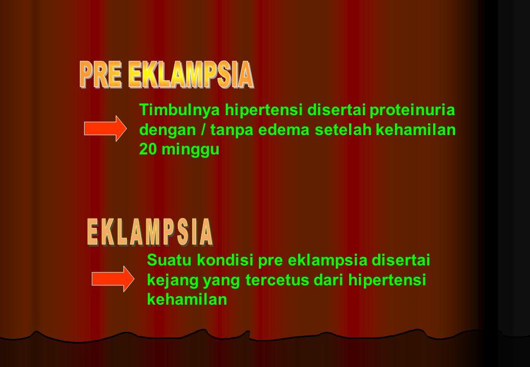 PRE EKLAMPSIA EKLAMPSIA Timbulnya hipertensi disertai proteinuria