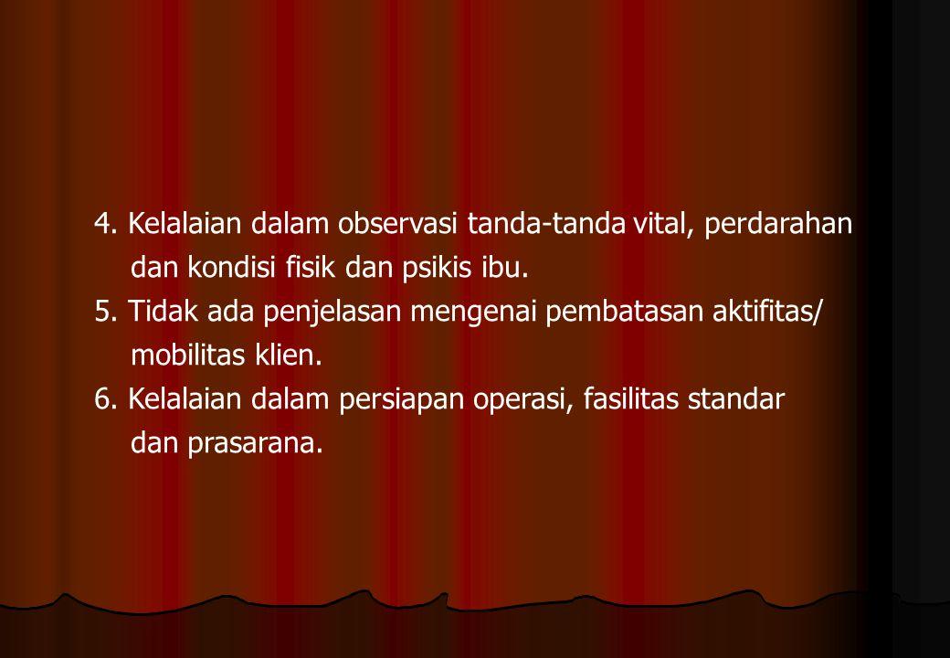 4. Kelalaian dalam observasi tanda-tanda vital, perdarahan