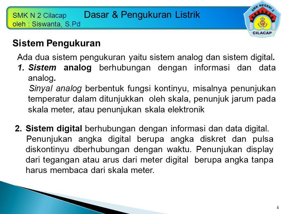 Sistem Pengukuran Ada dua sistem pengukuran yaitu sistem analog dan sistem digital. Sistem analog berhubungan dengan informasi dan data analog.