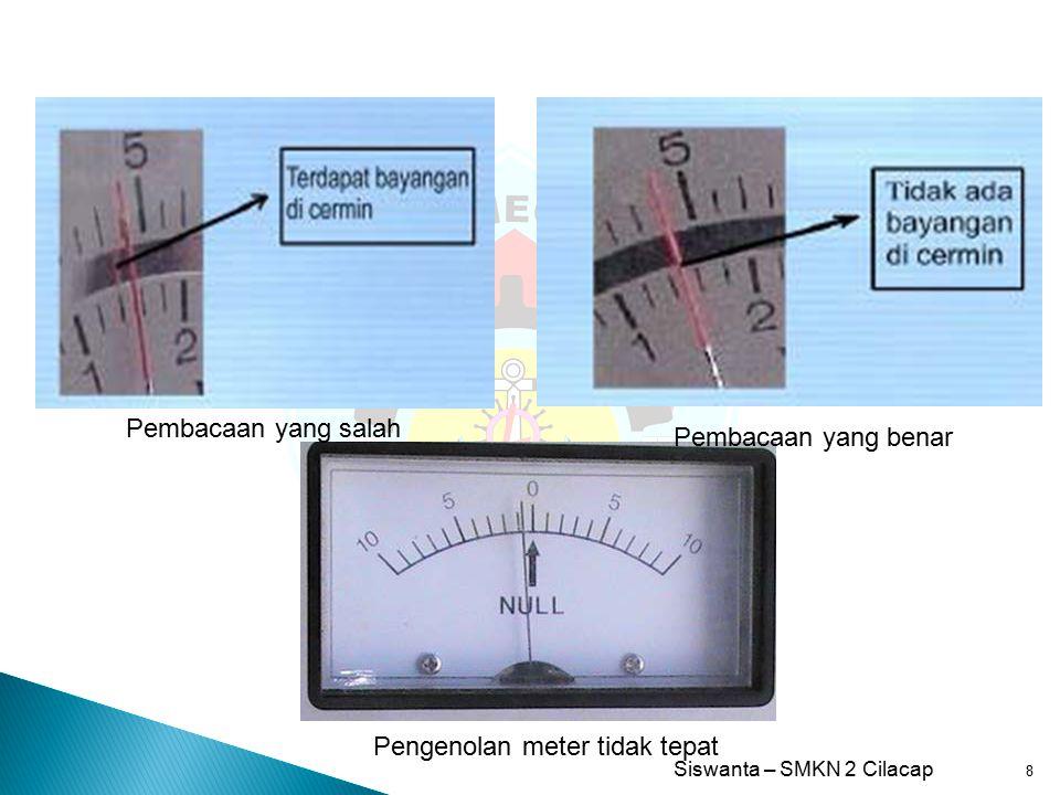 Pembacaan yang salah Pembacaan yang benar Pengenolan meter tidak tepat