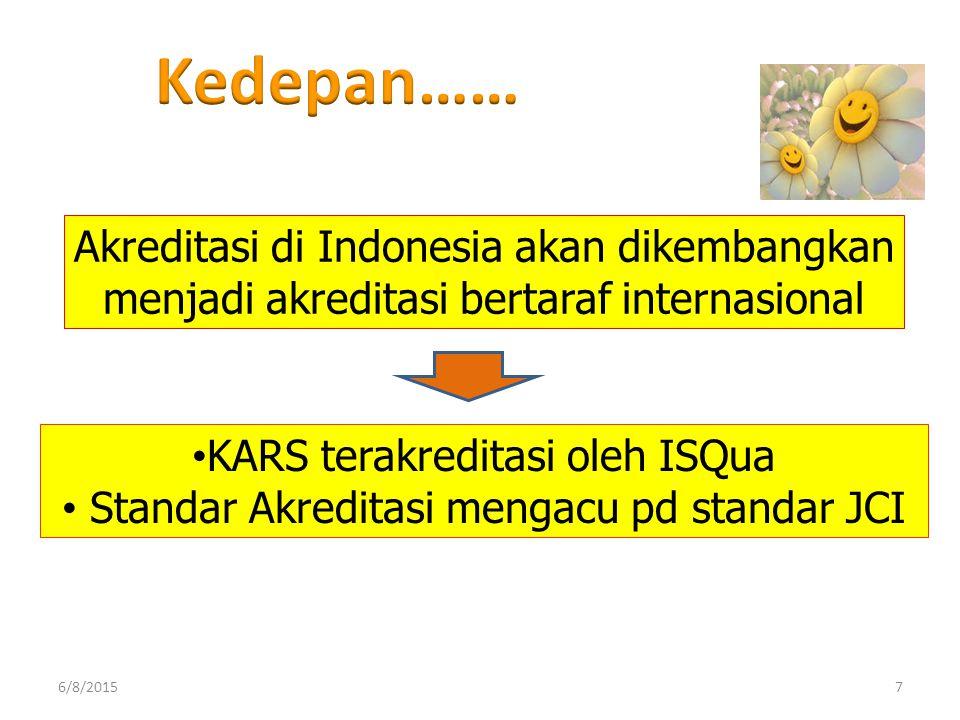 Kedepan…… Akreditasi di Indonesia akan dikembangkan menjadi akreditasi bertaraf internasional. KARS terakreditasi oleh ISQua.