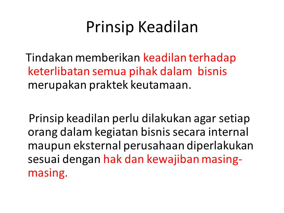 Prinsip Keadilan