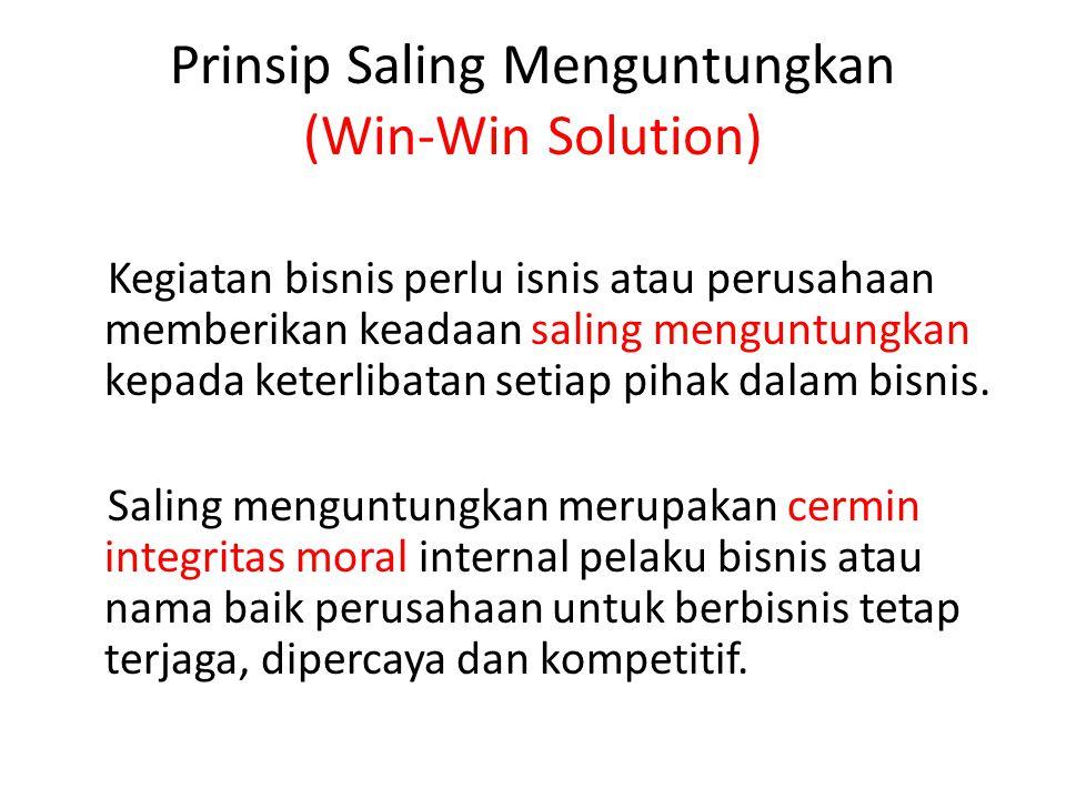 Prinsip Saling Menguntungkan (Win-Win Solution)
