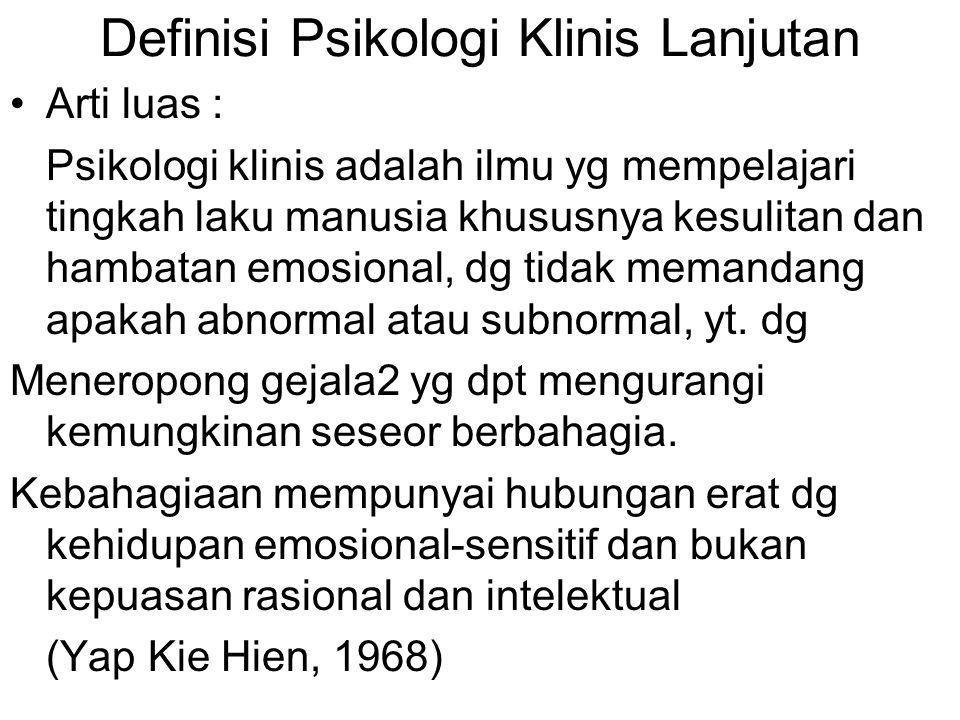 Definisi Psikologi Klinis Lanjutan