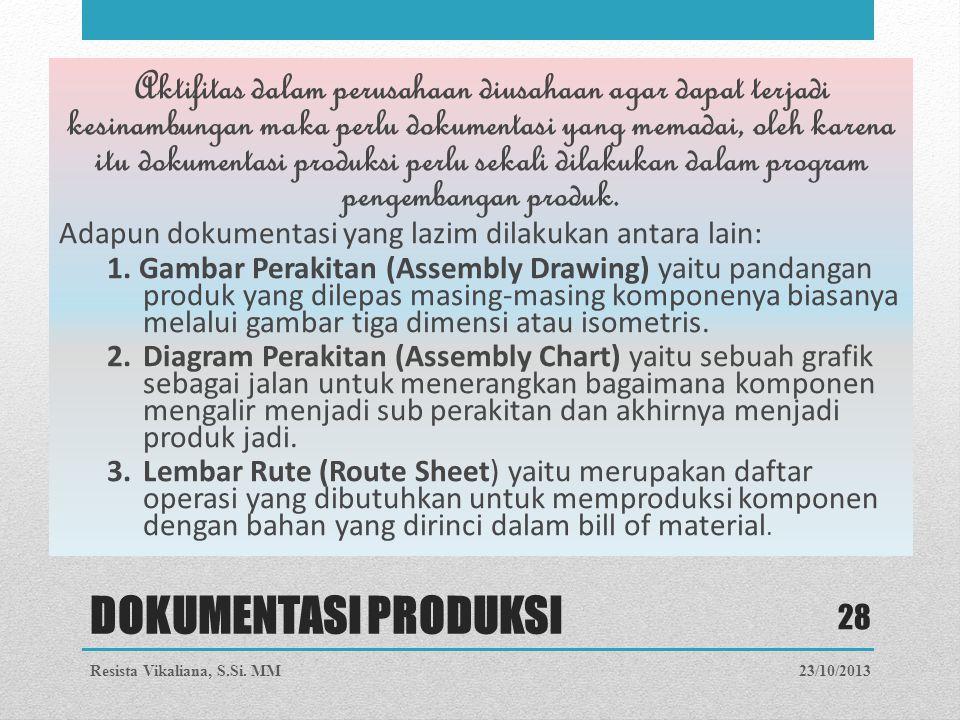 Aktifitas dalam perusahaan diusahaan agar dapat terjadi kesinambungan maka perlu dokumentasi yang memadai, oleh karena itu dokumentasi produksi perlu sekali dilakukan dalam program pengembangan produk.