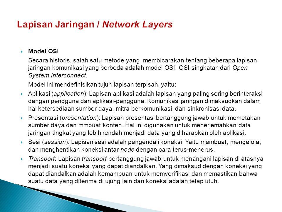 Lapisan Jaringan / Network Layers