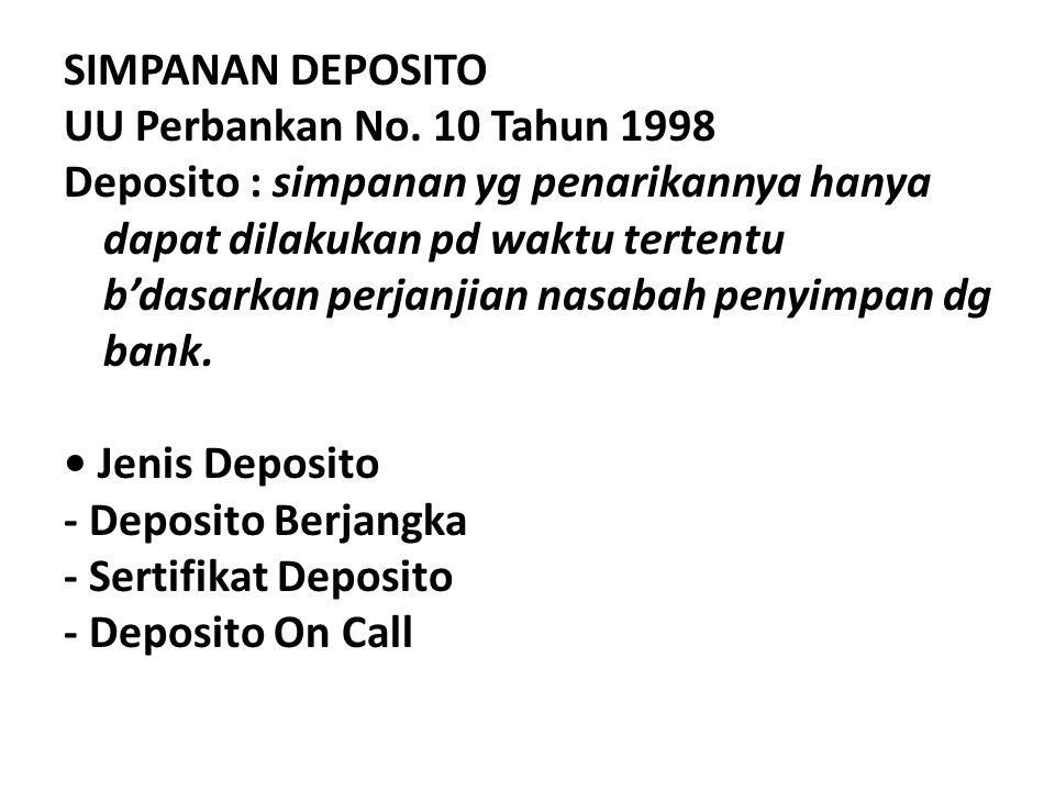 SIMPANAN DEPOSITO UU Perbankan No
