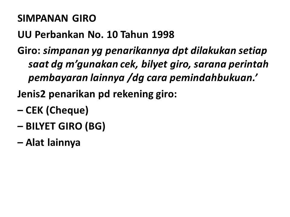 SIMPANAN GIRO UU Perbankan No
