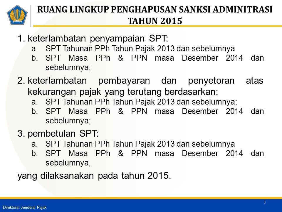 RUANG LINGKUP PENGHAPUSAN SANKSI ADMINITRASI TAHUN 2015