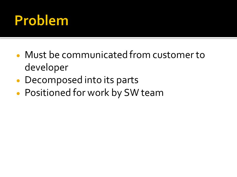 Problem Must be communicated from customer to developer