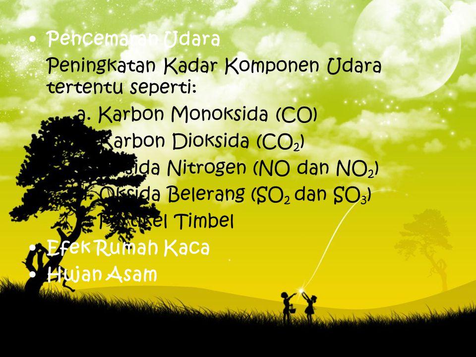 Pencemaran Udara Peningkatan Kadar Komponen Udara tertentu seperti: a. Karbon Monoksida (CO) b. Karbon Dioksida (CO2)