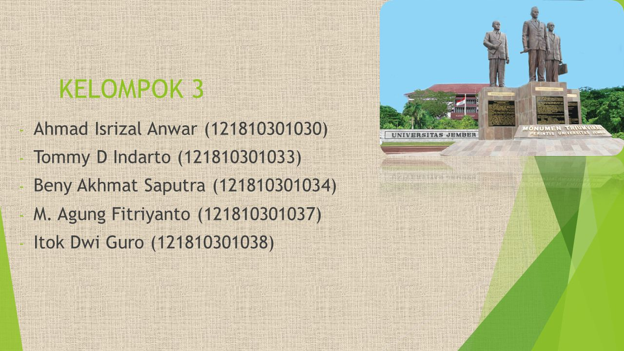 KELOMPOK 3 Ahmad Isrizal Anwar (121810301030)