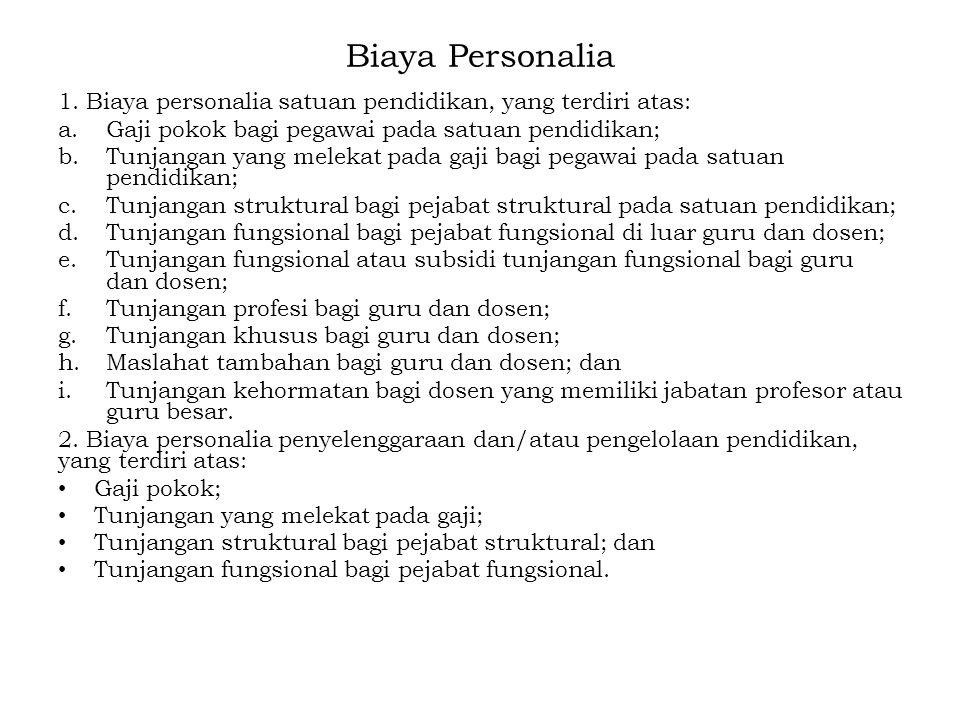 Biaya Personalia 1. Biaya personalia satuan pendidikan, yang terdiri atas: Gaji pokok bagi pegawai pada satuan pendidikan;