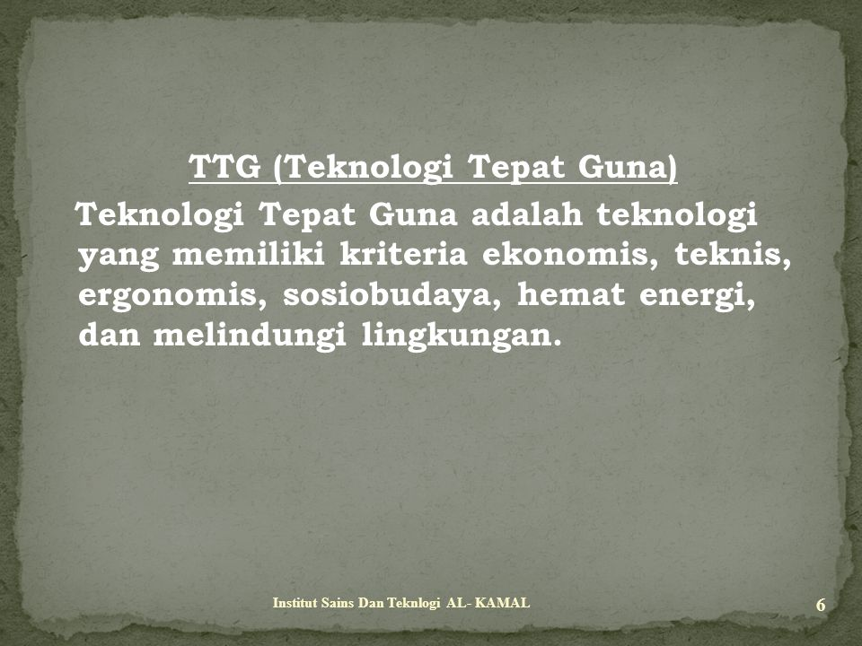 TTG (Teknologi Tepat Guna)