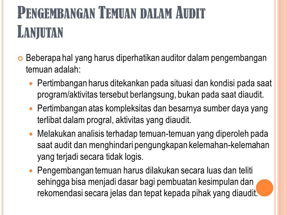 Pengembangan Temuan dalam Audit Lanjutan