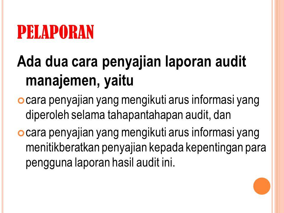 PELAPORAN Ada dua cara penyajian laporan audit manajemen, yaitu