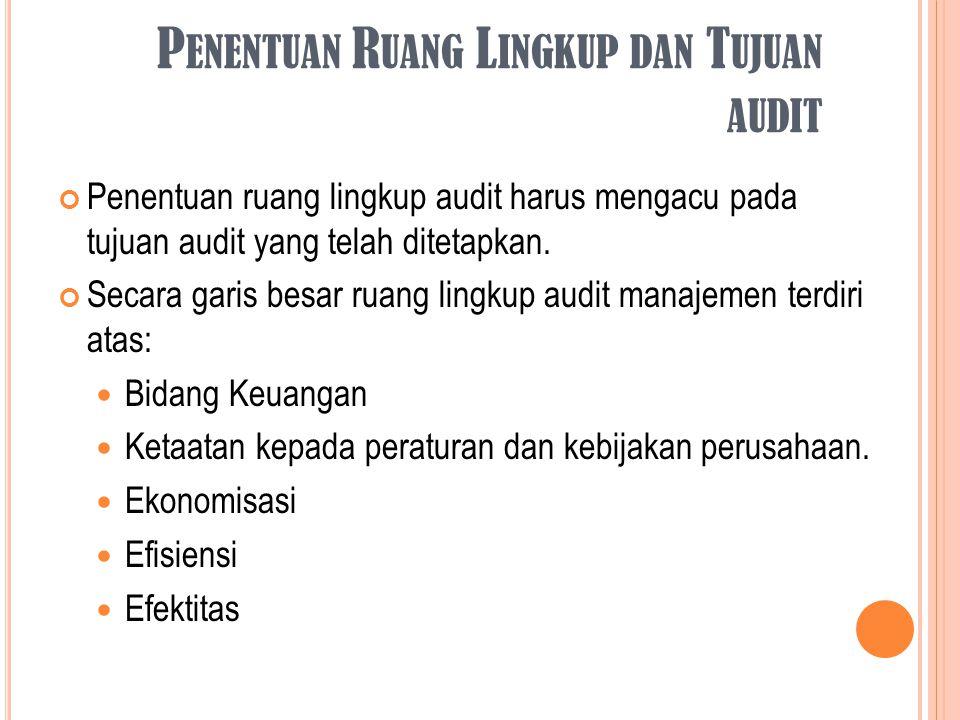 Penentuan Ruang Lingkup dan Tujuan audit