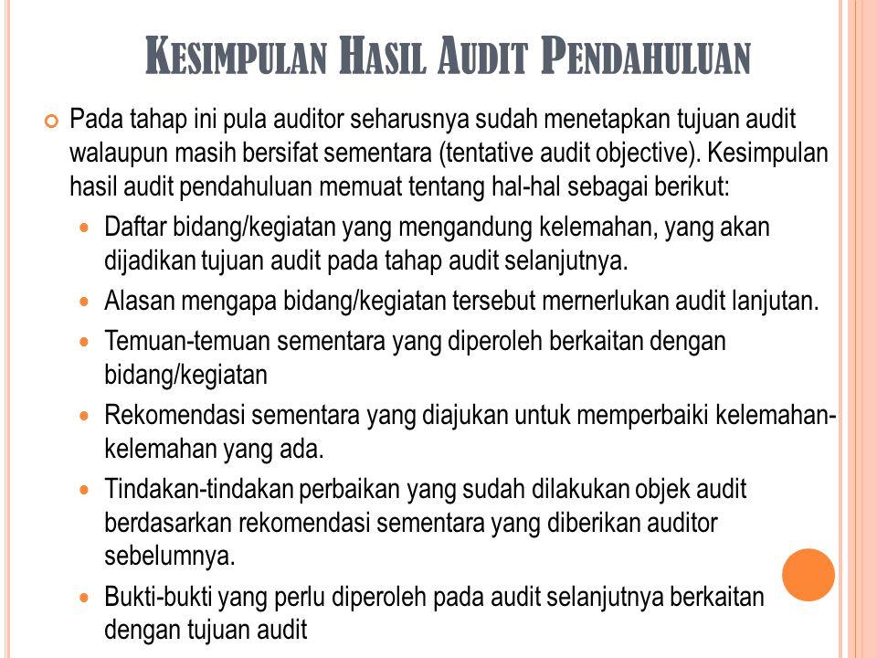 Kesimpulan Hasil Audit Pendahuluan