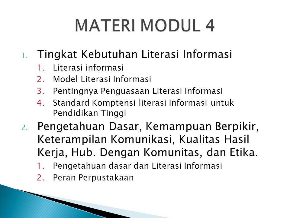 MATERI MODUL 4 Tingkat Kebutuhan Literasi Informasi