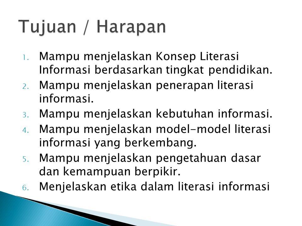 Tujuan / Harapan Mampu menjelaskan Konsep Literasi Informasi berdasarkan tingkat pendidikan. Mampu menjelaskan penerapan literasi informasi.