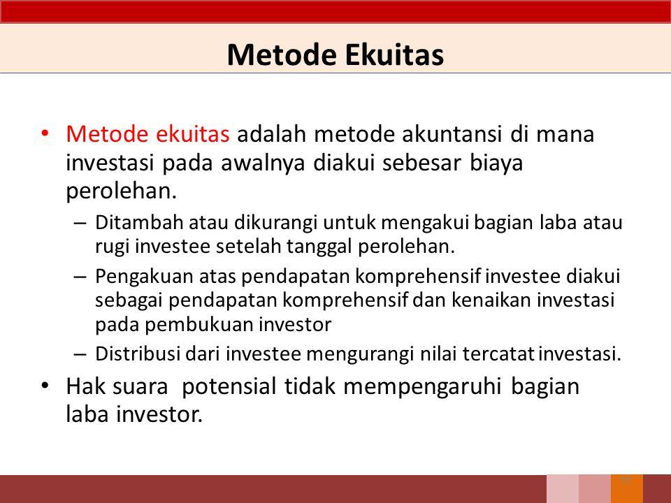 Metode Ekuitas Metode ekuitas adalah metode akuntansi di mana investasi pada awalnya diakui sebesar biaya perolehan.