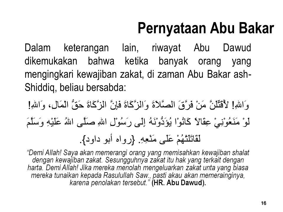 Pernyataan Abu Bakar