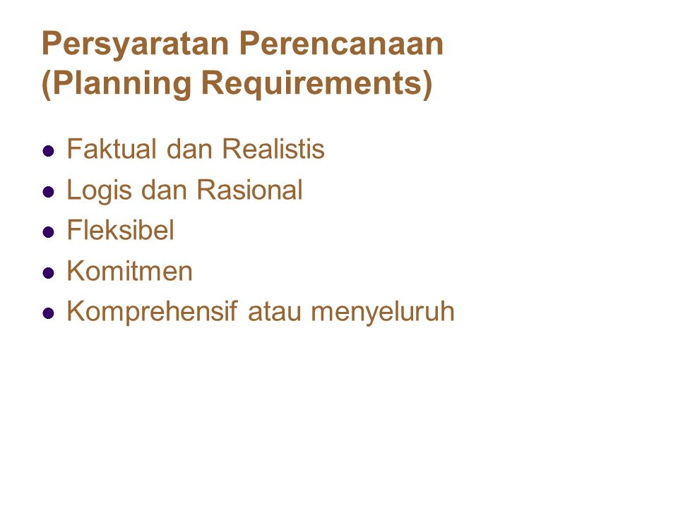 Persyaratan Perencanaan (Planning Requirements)