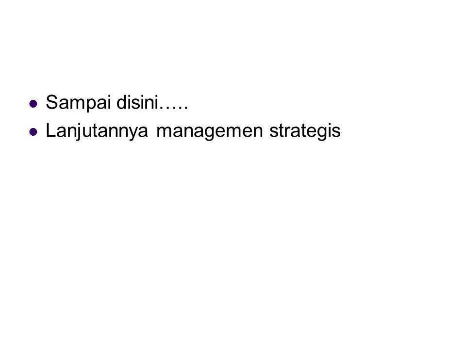 Sampai disini….. Lanjutannya managemen strategis