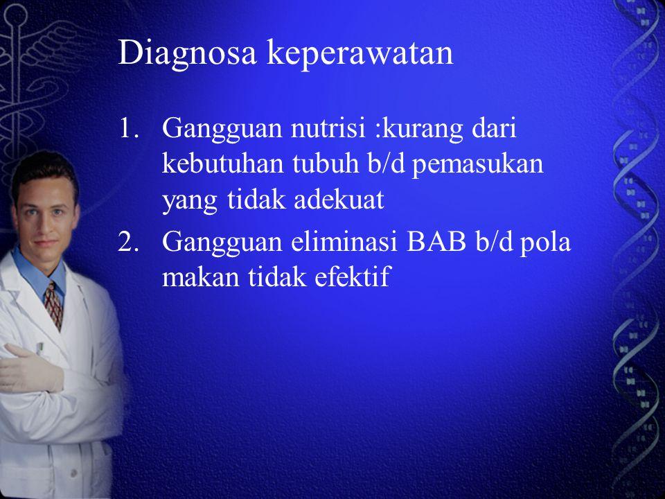Diagnosa keperawatan Gangguan nutrisi :kurang dari kebutuhan tubuh b/d pemasukan yang tidak adekuat.