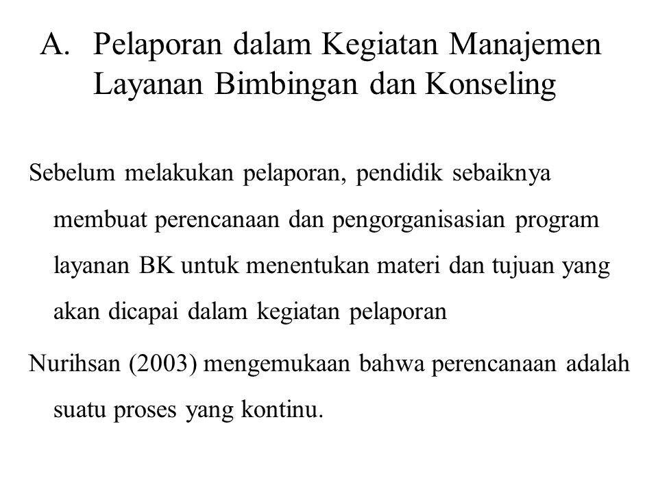 Pelaporan dalam Kegiatan Manajemen Layanan Bimbingan dan Konseling