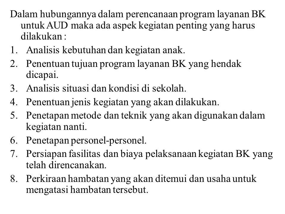 Dalam hubungannya dalam perencanaan program layanan BK untuk AUD maka ada aspek kegiatan penting yang harus dilakukan :
