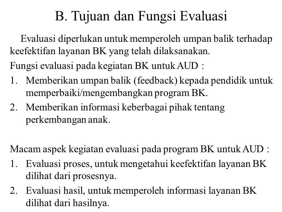 B. Tujuan dan Fungsi Evaluasi