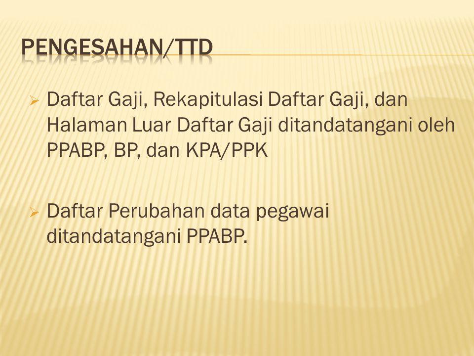 PENGESAHAN/TTD Daftar Gaji, Rekapitulasi Daftar Gaji, dan Halaman Luar Daftar Gaji ditandatangani oleh PPABP, BP, dan KPA/PPK.