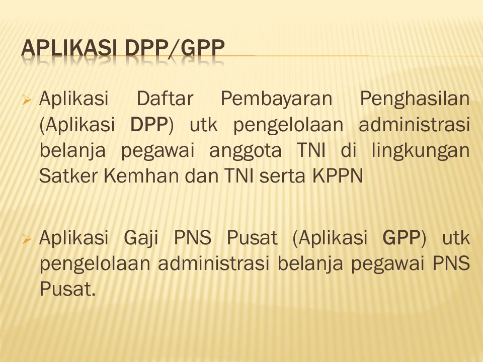APLIKASI DPP/GPP
