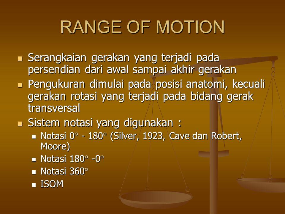 RANGE OF MOTION Serangkaian gerakan yang terjadi pada persendian dari awal sampai akhir gerakan.