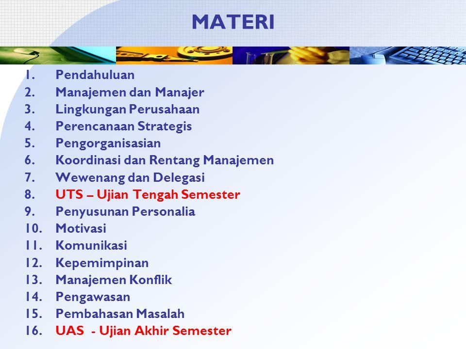 MATERI Pendahuluan Manajemen dan Manajer Lingkungan Perusahaan