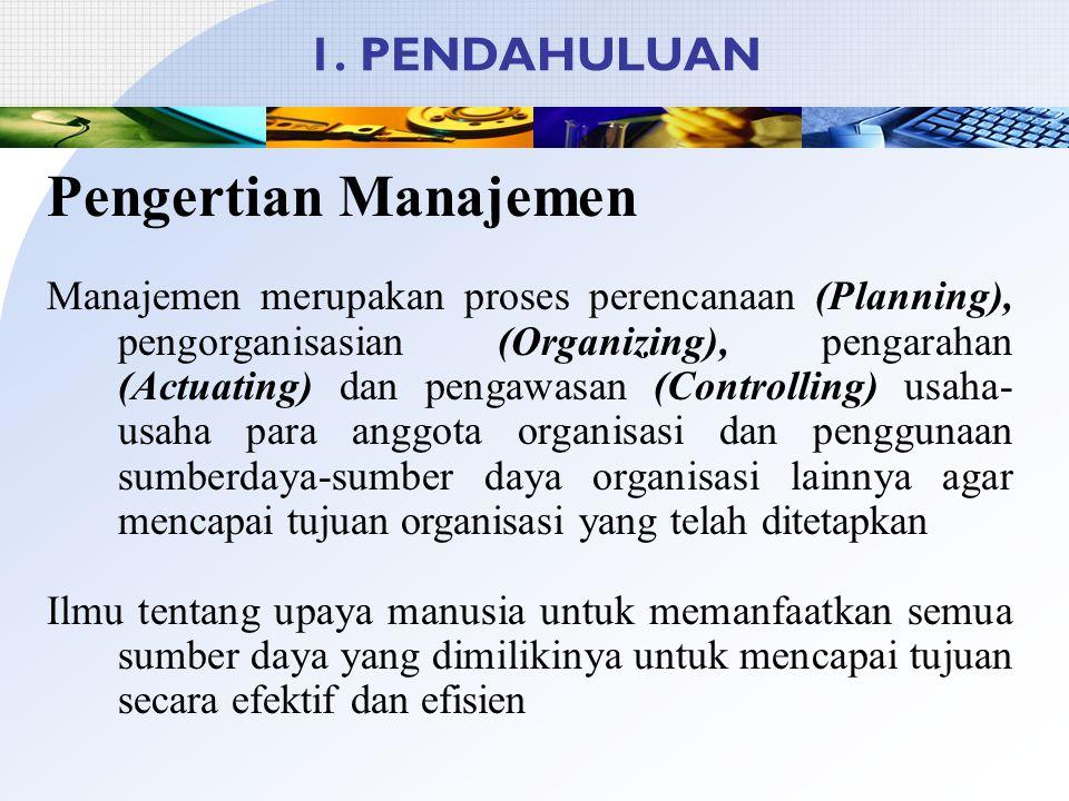 Pengertian Manajemen 1. PENDAHULUAN