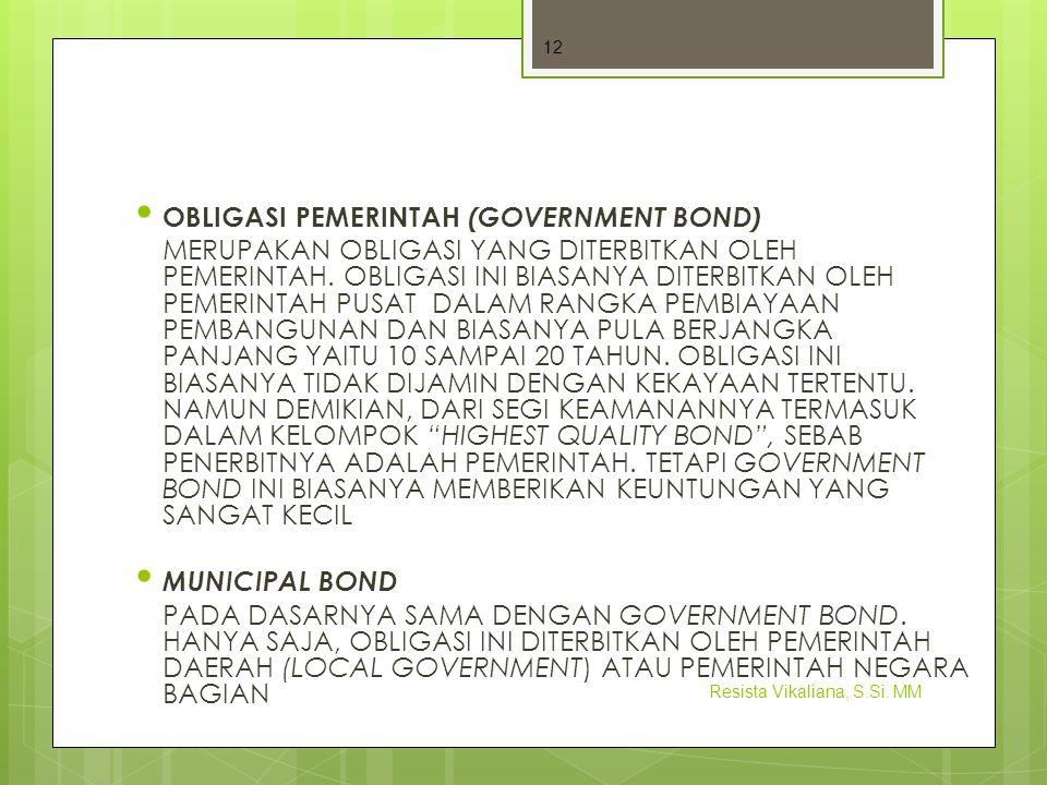 OBLIGASI PEMERINTAH (GOVERNMENT BOND)