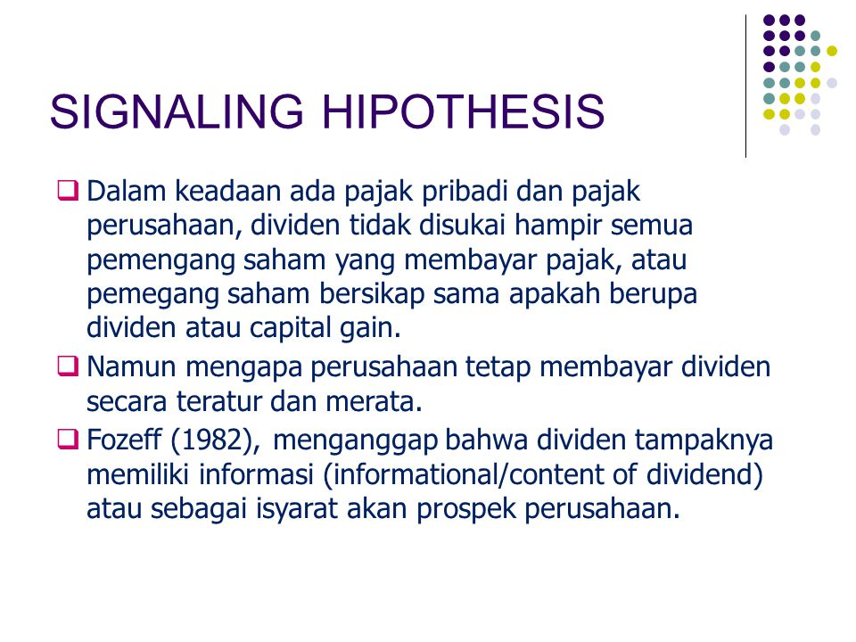 SIGNALING HIPOTHESIS