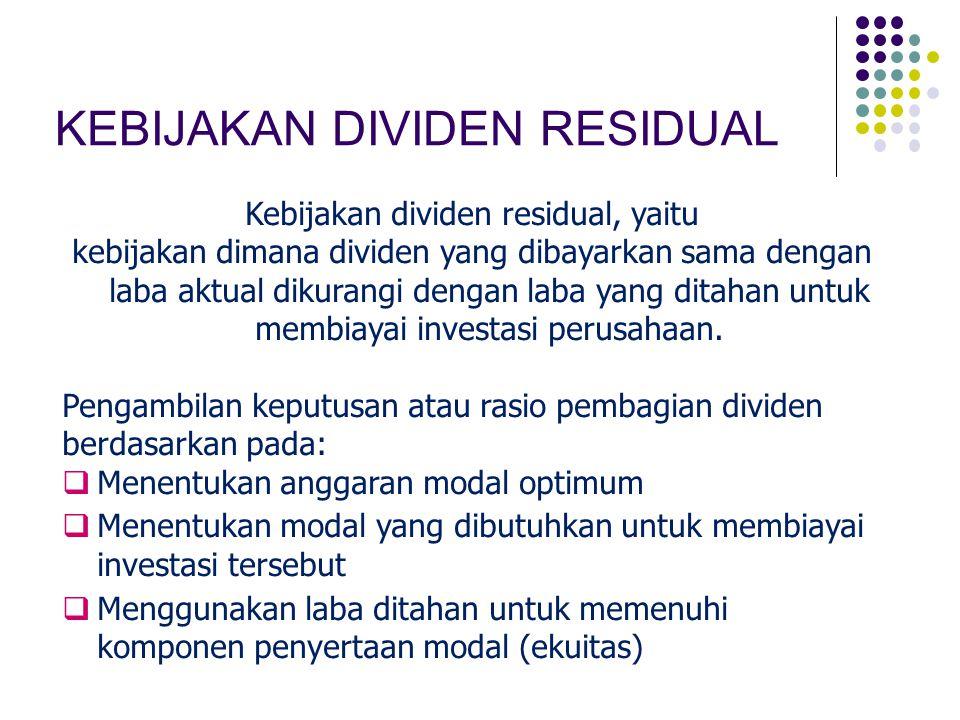 Kebijakan dividen residual, yaitu