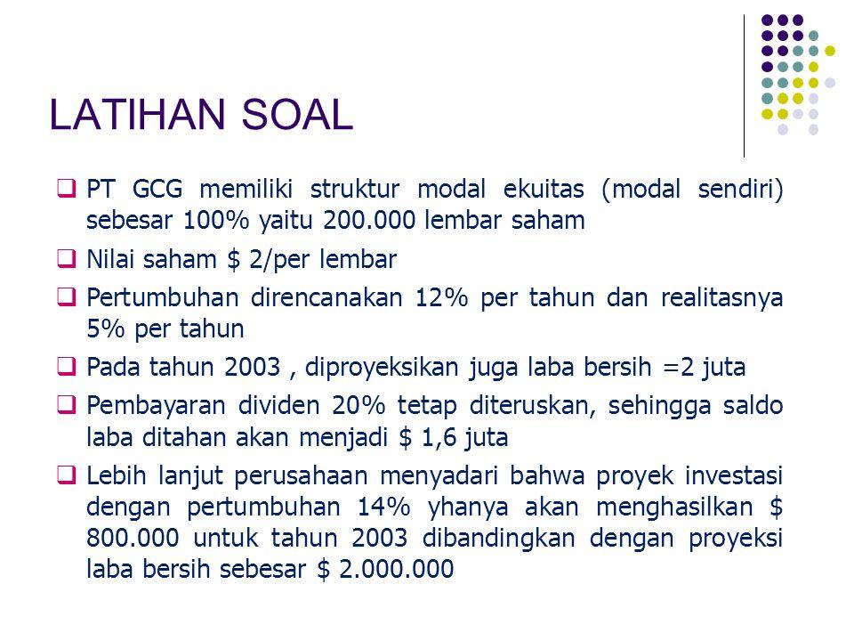 LATIHAN SOAL PT GCG memiliki struktur modal ekuitas (modal sendiri) sebesar 100% yaitu 200.000 lembar saham.