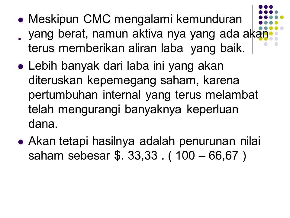 . Meskipun CMC mengalami kemunduran yang berat, namun aktiva nya yang ada akan terus memberikan aliran laba yang baik.