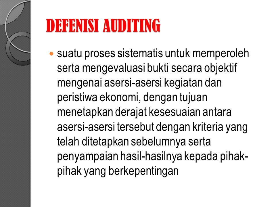 DEFENISI AUDITING