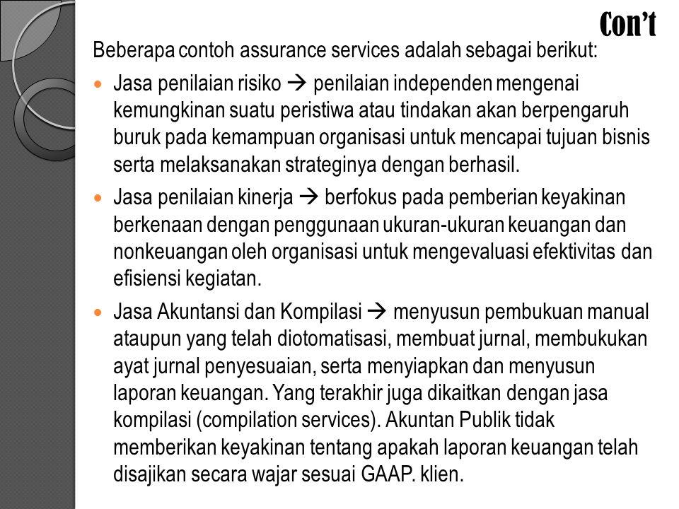 Con't Beberapa contoh assurance services adalah sebagai berikut: