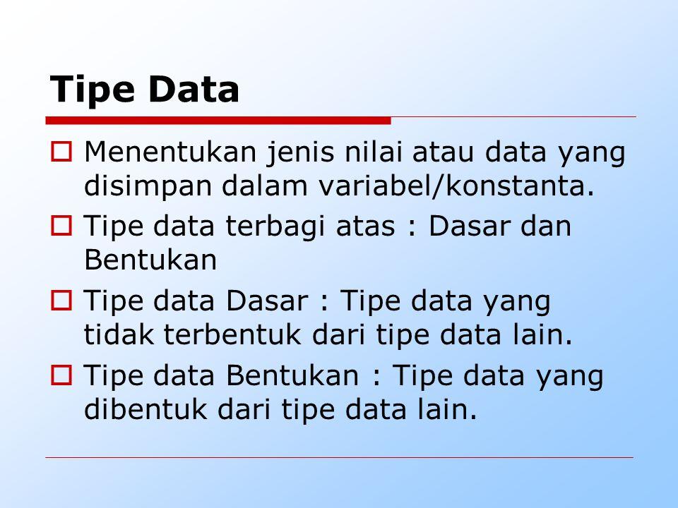 Tipe Data Menentukan jenis nilai atau data yang disimpan dalam variabel/konstanta. Tipe data terbagi atas : Dasar dan Bentukan.